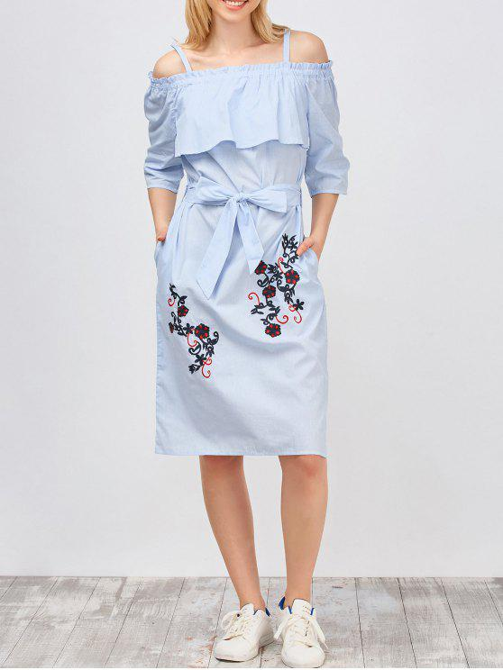 hot Slip Floral Embroidered Ruffle Dress With Belt - LIGHT BLUE L