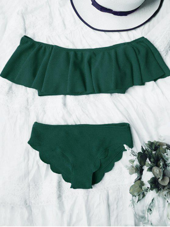 unique Scalloped Off The Shoulder Bikini Set - DEEP GREEN S