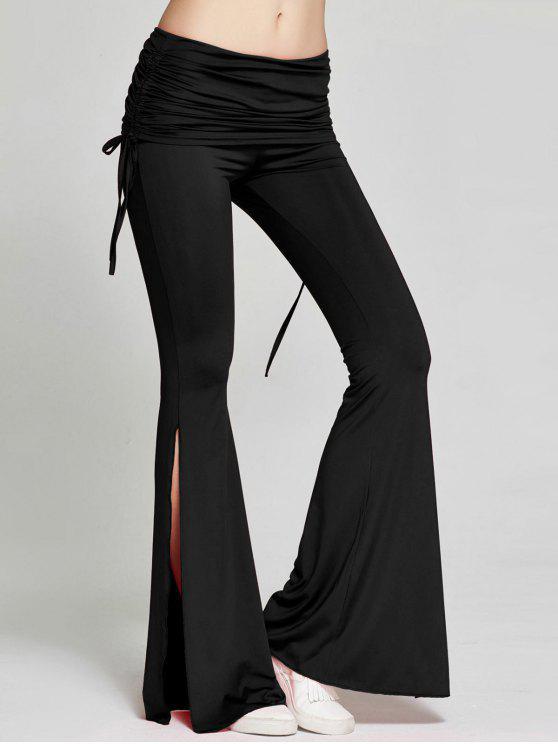 36088a4e135f 26% OFF  2019 High Slit Flare Bell Bottom Yoga Pants In BLACK