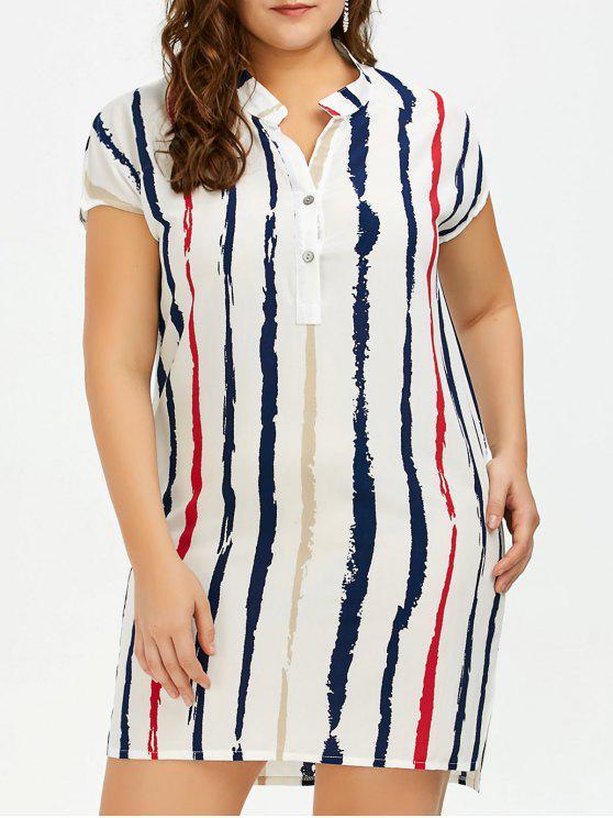 بالإضافة إلى حجم التعادل صبغ شريط جاهزة قميص تونك اللباس - أبيض 2XL