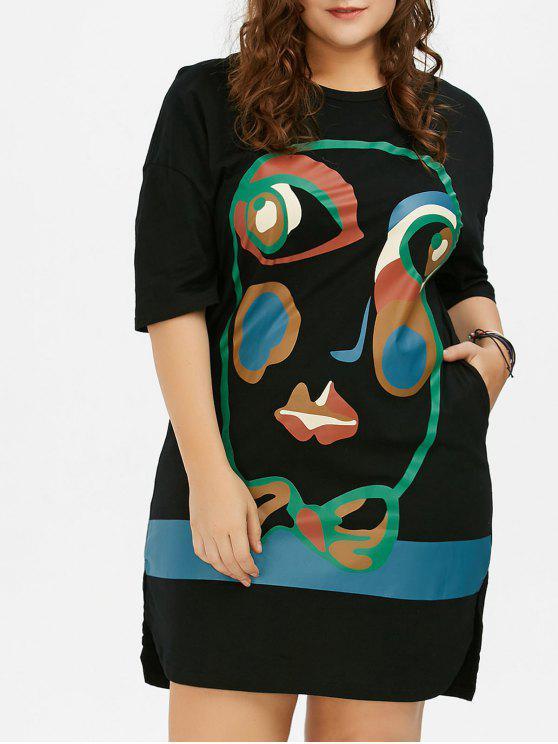Plus Size Abstract Face Print T-Shirt Dress BLACK