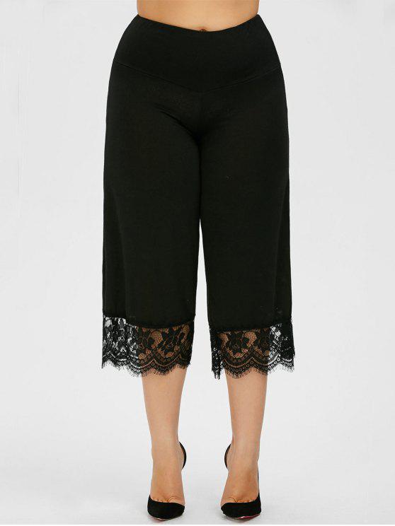 9cc7101b23165 Lace Trim Plus Size Capri Palazzo Pants - Black 4xl