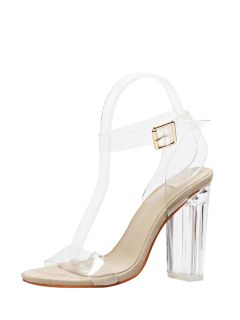 Transparent Plastic Clear Heel Ankle Strap Sandals - Apricot 38