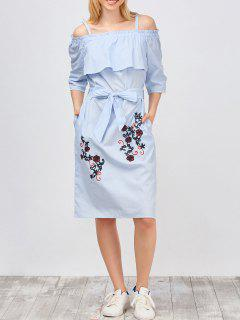 Slip Floral Embroidered Ruffle Dress With Belt - Light Blue L