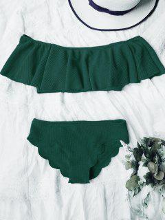 Scalloped Off The Shoulder Bikini Set - Deep Green M