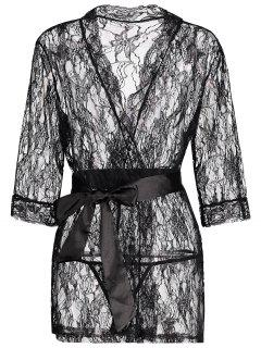 Lace See Thru Wrap Sleep Robe - Black L