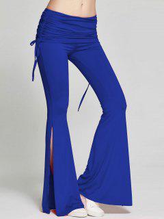 High Slit Flare Bell Bottom Yoga Pants - Deep Blue M