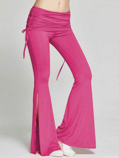 High Slit Flare Bell Bottom Yoga Pants - Rose Madder Xl