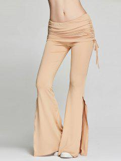 High Slit Flare Bell Bottom Yoga Pants - Khaki L
