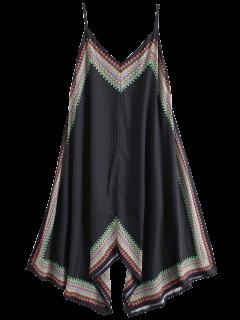 Printed Asymmetrical Beach Dress - Black L
