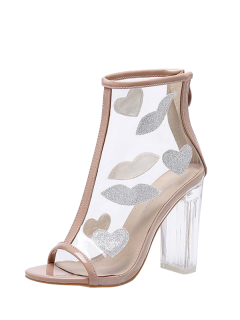 Clear Heel Zipper Transparent Plastic Ankle Boots - Apricot 40