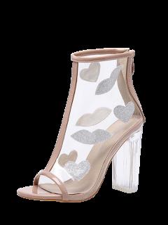 Clear Heel Zipper Transparent Plastic Ankle Boots - Apricot 40