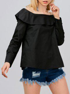 Off Shoulder Oversized Blouse - Black M