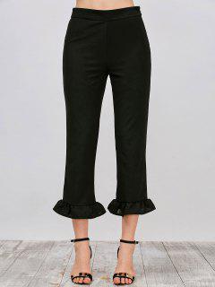 Ruffle Hem Capri Pants - Black L