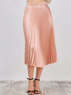 Metallic Pleated Skirt - Pinkbeige S