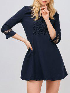 Lace Panel Stand Collar Skater Dress - Purplish Blue S