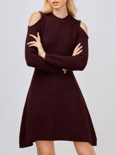 Cold Shoulder Knitted Dress - Wine Red S