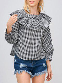 Gingham Check Ruffle Blouse - White And Black S
