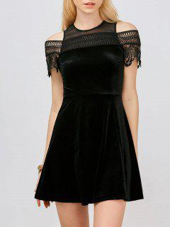 Lace Insert Cold Shoulder Mini Dress - Black S