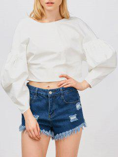 Puff Sleeves Cropped Button Up Blouse - White S