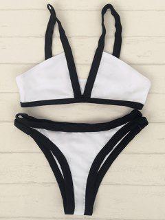 Cami Bikini Set Mit V-Ausschnitt Und Komplementärfarbe - Weiß Xl