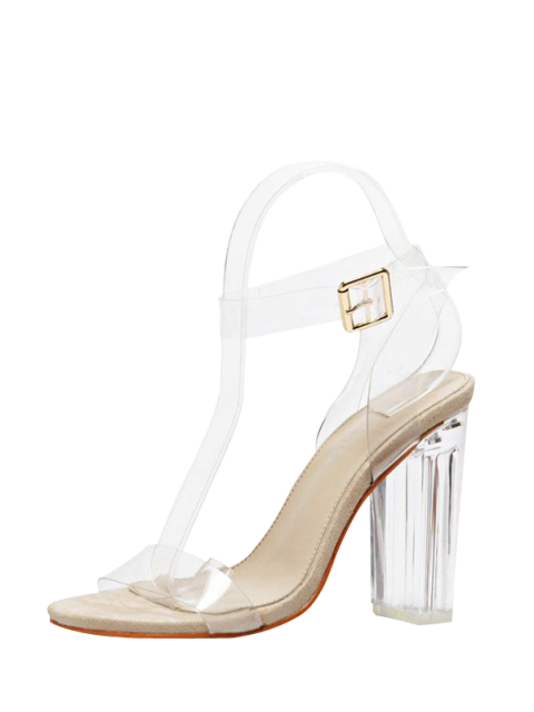 womens Transparent Plastic Clear Heel Ankle Strap Sandals - APRICOT 38 Mobile