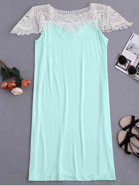 online Cape Sleeve Lace Panel Babydoll - LIGHT GREEN M Mobile