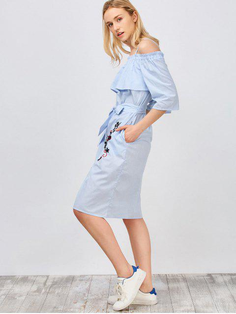 hot Slip Floral Embroidered Ruffle Dress With Belt - LIGHT BLUE L Mobile