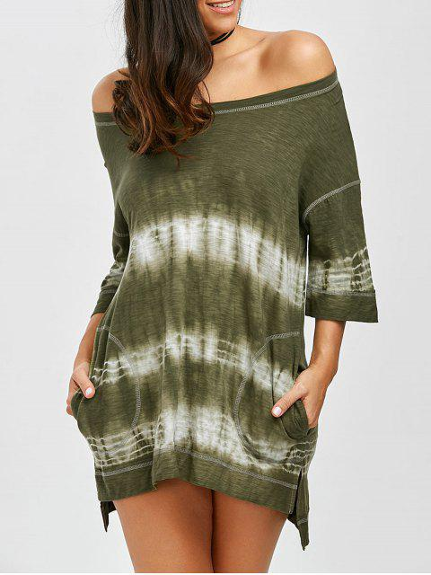 ladies Off Shoulder Slit Tie Dye High Low Summer Dress - ARMY GREEN M Mobile