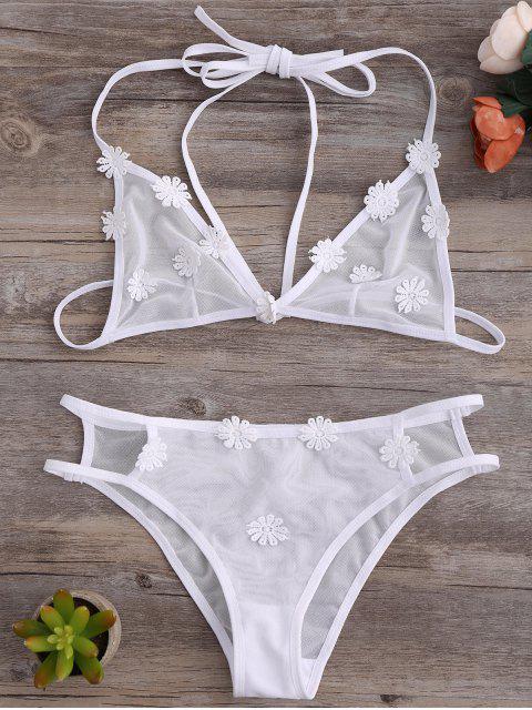 fancy Strappy Mesh Daisy Bra Set - WHITE L Mobile