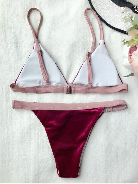 outfits Buckles Velvet High Cut Bikini - RED L Mobile