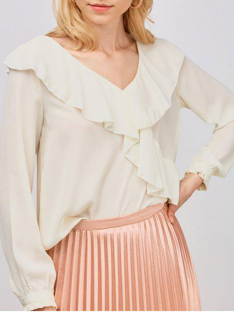 lady Ruffled High Low Sheer Blouse - PALOMINO L Mobile