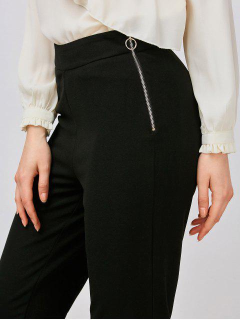 fashion Ruffle Hem Capri Pants - BLACK L Mobile