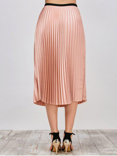 outfits Metallic Pleated Skirt - PINKBEIGE L Mobile