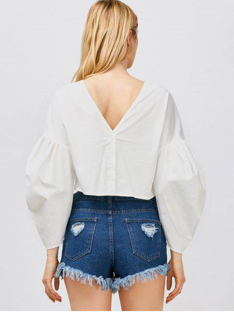 hot Puff Sleeves Cropped Button Up Blouse - WHITE L Mobile