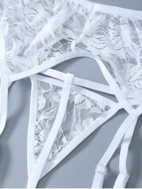 sale Sheer Lace Garters and Thong Briefs - WHITE ONE SIZE Mobile