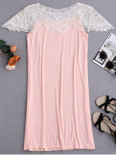 new Cape Sleeve Lace Panel Babydoll - PINK XL Mobile