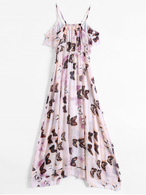 chic Butterfly Cold Shoulder Chiffon Dress - PINK S Mobile