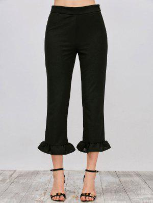 Ruffle Hem Capri Pants - Black S