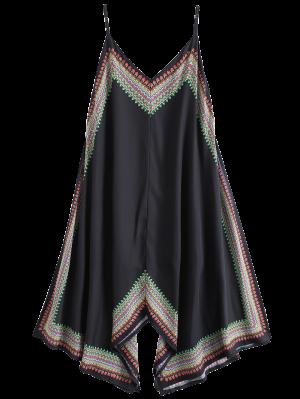 Vestido Asimétrico De Playa Con Estampado - Negro M