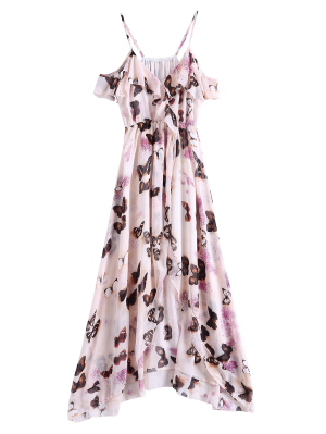 Butterfly Cold Shoulder Chiffon Dress - Pink L
