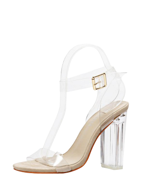 Plastique Transparent talon Sandales cheville Strap