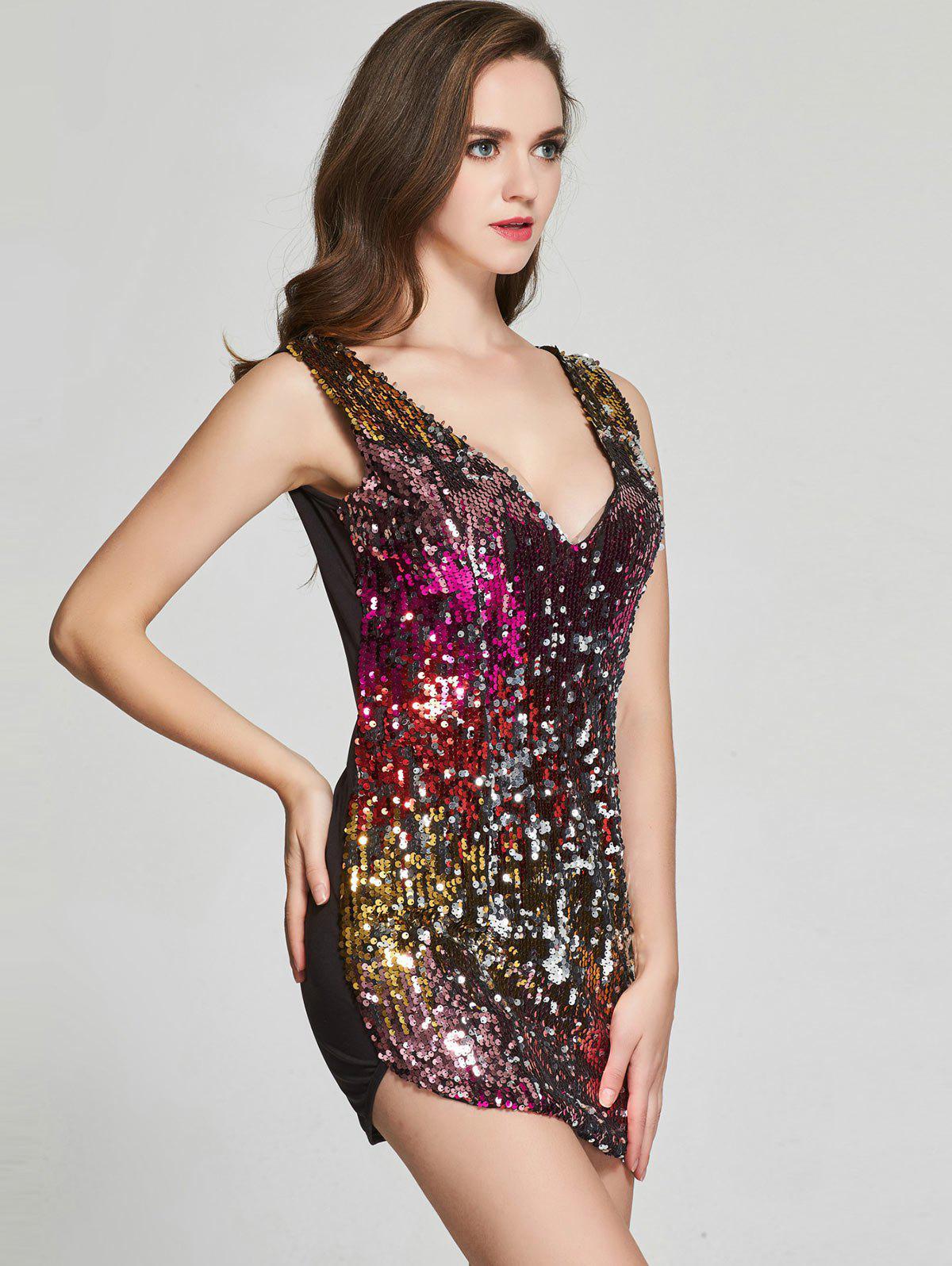 Sequin Glitter Sparkly Tight Club Mini Short Dress 210217206