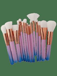 15 قطع حورية البحر ماكياج فرش مجموعة - الأزرق والوردي
