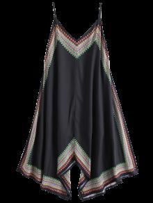 Printed Asymmetrical Beach Dress - Black M