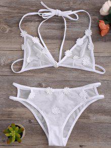 Strappy Mesh Daisy Bra Set - White L