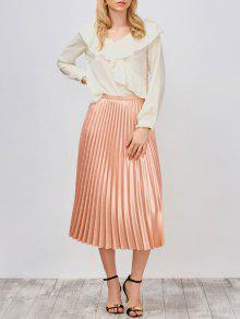 Ruffled High Low Sheer Blouse - Palomino S