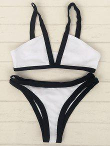 Hit Color Cami V Neck Bikini Set - White S