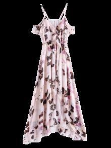 فستان فراشة باردة الكتف الشيفون - زهري S