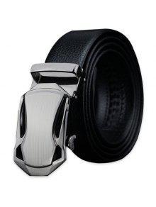 تلميع هندسية التلقائي مشبك فو الجلود حزام - أسود